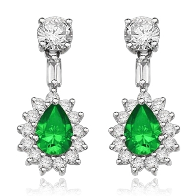 Clip Pear with Emerald Essence earrings in silver
