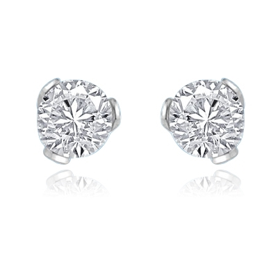 2ct round-cut stone earring in Platinum Plated Sterling Silver