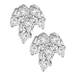 Diamond Essence Marquise Cut stone, 0.5 ct. each, set in floral design, 3.0 Cts.T.W. in Platinum Plated Sterling SIlver.
