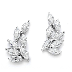 Diamond Essence Designer Earring with Marquise Essence. Appx. 4.25 Cts.T.W. set in Platinum Plated Sterling Silver.