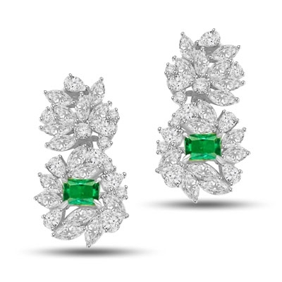 Designer earrings, just perfect for special occasions. Diamond Essence Emerald cut Emerald Essence, 1 ct. stone set in four prongs and surrounded by Marquise, Pear and Round Brilliant Essence stones in artistic floral design.