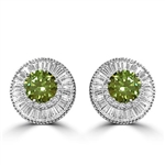Diamond Essence Designer Earrings with 2.5 carat each, Round Peridot center in six prongs high setting, surrounded by Round Brilliant melee and baguettes, 15.2 Cts.t.w. in Platinum Plated Sterling Silver.