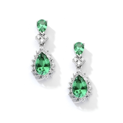 7ct emerald essence earrings in silver