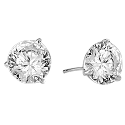 Pair of Studs in three prongs Martini Setting, Round Diamond Essence in each stud. 6.0 Cts T.W. set in Platinum Plated Sterling Silver.