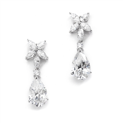 Pear,marquise cut stone-Platinum Plated Sterling Silver drop earrings