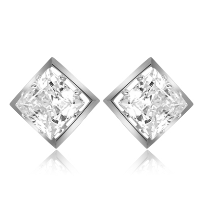 Classic square studs of Diamond Essence  princess cut stones, 2.0 ct. each set in Platinum Plated Sterling Silver, 4.0 cts.t.w.
