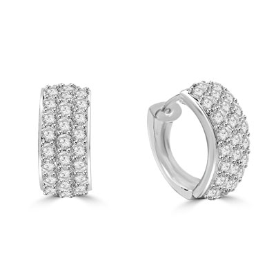 2ct Hoop & round stones earrings in Platinum Plated Sterling Silver.