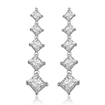 5 princess cut square Stone silver drop earring