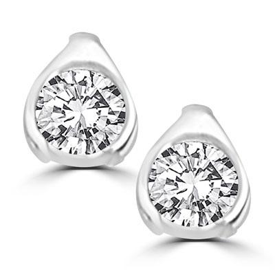 581485690 Diamond Essence Platinum Plated Sterling Silver stud earrings of ...