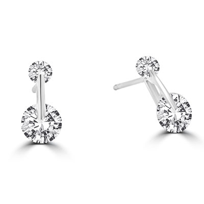 Large round DE stone earring in Platinum Plated Silver
