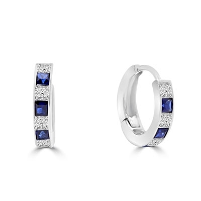 Platinum Plated Sterling Silver hoop Earring with alternate Diamond Essence and Sapphire Essence princess cut stones. 2.0 cts.t.w.