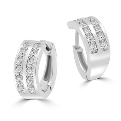 Platinum Plated Sterling Silver Huggies With Two Row Of Channel Set Princess Cut Diamond Essence Stone, 1.40 Cts.T.W.