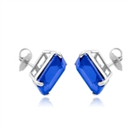 Sterling Silver sapphire studs earrings