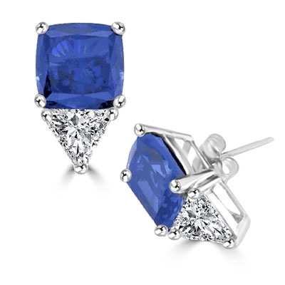 Platinum Plated Sterling SIlver Stud earring in cushion cut sapphire essence stone.