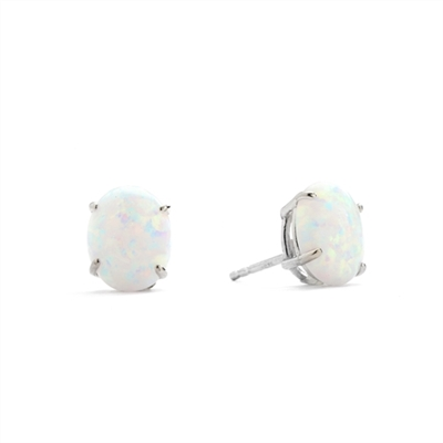 Diamond Essence opal studs. 3.0 Cts. each, set in Platinum Plated Sterling Silver 6.0 Cts. T.W.
