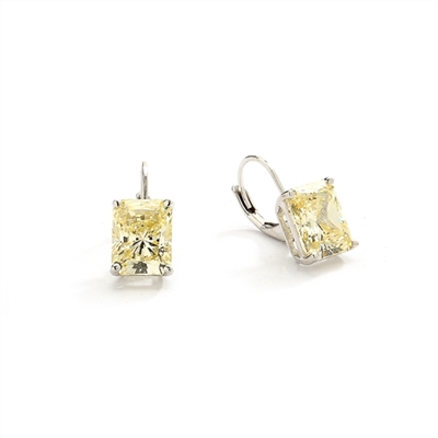 Lever Back With Emerald cut Canary Essence Stone in Platinum Plated Sterling Silver.