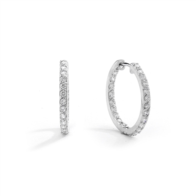 Platinum Plated Sterling Silver hoop earrings with a melee of Round cut Diamond Essence stones orbiting all around your delicate lobes. These highly flattering hoops are also hinged half way around so they can go on and come off in a flash. 2.0 cts.t.w.