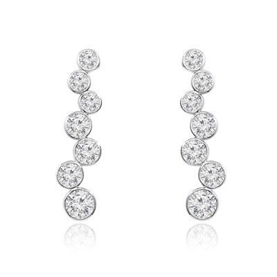 Platinum Plated Sterling Silver earring of Diamond Essence round brilliant stones set in bezel setting. 5.5 cts.T.W.