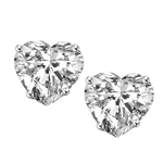 1 carat Diamond Essence Heart Studs in Platinum Plated Sterling Silver