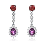Bezel Set Designer Earrings with Oval Cut Amethyst with Round Cut Garnet and Brilliant Melee Diamonds by Diamond Essence set in Sterling Silver