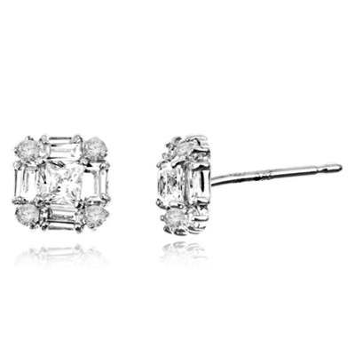 Little beauty. Diamond Essence traditional baguettes, princess cut and round brillaints set in artistic way in Platinum Plated Sterling Silver, 2.0 cts.t.w.