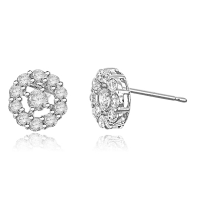 Diamond Essence round brilliant melee set in floral design with 0.25 ct. center, in Platinum Plated Sterling Silver.