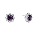 Designer Earrings with Round Amethyst Essence in center Surrounded by Round Brilliant Diamond Essence and Melee. 9.0 Cts. T.W. set in Platinum Plated Sterling Silver.