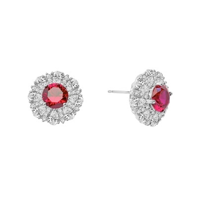 Diamond and Ruby Earring - Round Ruby Essence in Center surrounded by Pear Cut Diamond Essence and Melee. 5.5 Cts. T.W. set in Platinum Plated Sterling Silver.