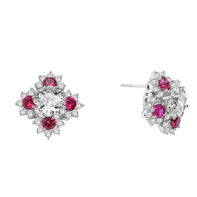 Designer Earrings with Asscher cut Diamond Essence in center surrounded by Floral Designs created with Round Ruby Essence and Melee. 6.0 Cts. T.W. set in Platinum Plated Sterling Silver.