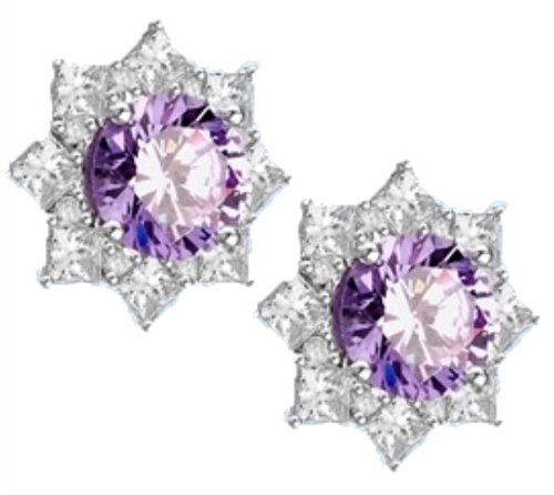 Floral Earrings with 3.5 Cts.  Round Lavender Essence in center surrounded by Princess cut Diamond Essence and Melee. 6.5 Cts. T.W. set in Platinum Plated Sterling Silver.