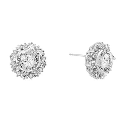 Designer Earrings With Round Brilliant Diamond essence in center surrounded by alternately set Princess and melee. 14.5 Cts T.W. set in Platinum Plated Sterling Silver.