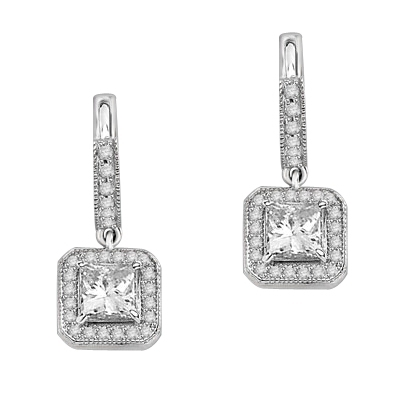 Designer Hoop Earrings with Princess  Diamond Essence centerpiece, surrounded by Round Brilliant Melee. 2.25 Cts. T.W. set in Platinum Plated sterling Silver.