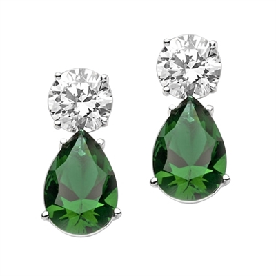 Diamond Essence Drop Earrings with Pear Shape Emerald Stones and Round Brilliant Stones, 14.0 cts.t.w. - SEDE5038GR