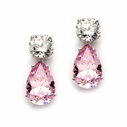Best Selling Tear Drop Diamond Essence Earrings - White Brilliant Round Stone is 2 Ct and Pink Essence Pear Stone is 5 Ct. A Brilliant Sparkle of 14 Cts. T.W. for the pair of earrings! In Platinum Plated Sterling Silver.