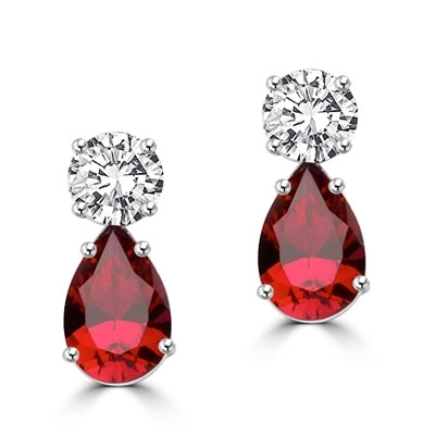 Best Selling Tear Drop Diamond Essence Earrings - White Brilliant Round Stone is 2 Ct and Ruby Essence Pear Stone is 5 Ct. A Brilliant Sparkle of 14 Cts. T.W. for the pair of earrings! In Platinum Plated Sterling Silver.