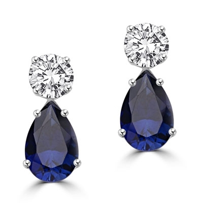 Diamond Essence Earrings, 5.0 Cts. each Pear cut Sapphire Essence dropping off from 2.0 Cts. each Round Diamond Essence Studs, 14.0 Cts. T.W. set in Platinum Plated Sterling Silver.