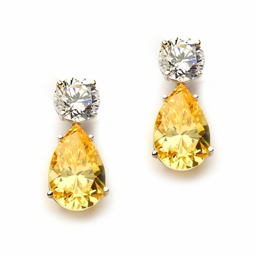 Best Selling Tear Drop Diamond Essence Earrings - White Brilliant Round Stone is 2 Ct and Canary Essence Pear Stone is 5 Ct. A Brilliant Sparkle of 14 Cts. T.W. for the pair of earrings! In Platinum Plated Sterling Silver.