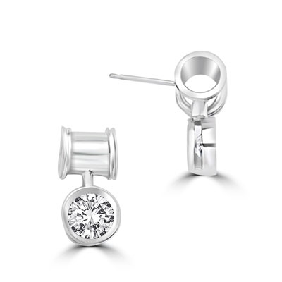 Unique Bezel set drop earring with 2 Cts. T.W. Round Diamond Essence, in 14k Platinum Plated Sterling Silver.