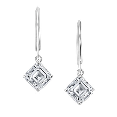Asscher Cut Leverback Earrings. 2.0 Cts. T.W. set in Platinum Plated Sterling Silver.