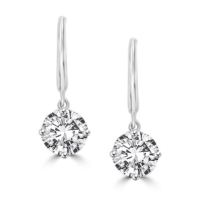 Round Cut Leverback Earrings. 4.0 Cts. T.W. set in Platinum Plated Sterling Silver.