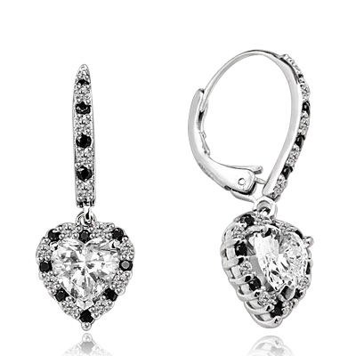 Diamond Essence leverback earrings, 1.0 Ct. each, Heart shape Diamond Essence surrounded by alternately set Onyx and Diamond Essence Melee, which flows on leverback also for additional sparkle. 4.0 Cts. T.W. set in Platinum Plated Sterling Silver.