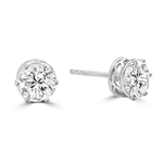 Basket Set Stud Earrings with Artificial Round Diamond by Diamond Essence set in Sterling Silver