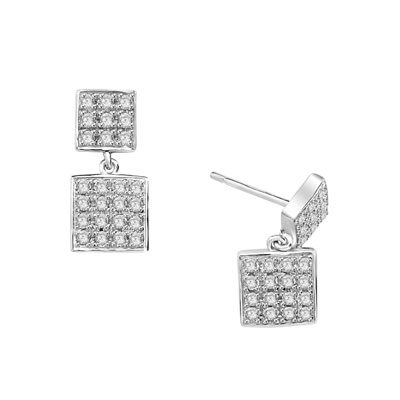 Square double dangle earrings set with round accents on both drops. 1.5 Cts. T.W. set in Platinum Plated Sterling Silver.