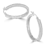 hoop earrings with baguettes in silver