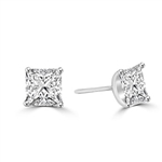 Princess cut Diamond Essence studs cradled in Platinum Plated Sterling Silver, 3.0 cts. t.w.