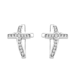 Wondrous Cross Earrings in Platinum Plated Sterling Silver