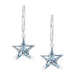 Prong Set Lever back Earring with Special Cut Faux Blue Topaz Star Diamond by Diamond Essence set in Sterling Silver