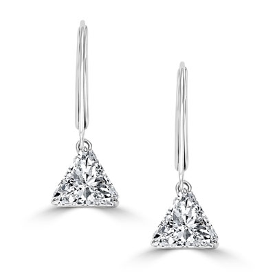 Diamond Essence Brilliant Trilliant Cut 1 Ct each, for a 2 Cts. T.W. Lever Back Earrings set in Sterling Silver. Mesmerizing beauty for all occasions.