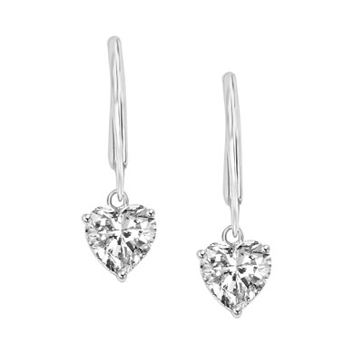 Prong Set Lever back Earring with Faux Heart Cut Brilliant Diamond by Diamond Essence set in Sterling Silver