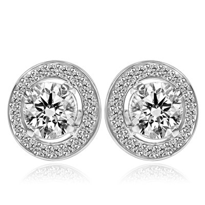 Round stone earrings - 1.25 Cts. each Round Brilliant Diamond Essence surrounded by circle of Diamond Essence Melee. 2.90 Cts. T.W. set in Platinum Plated Sterling Silver.